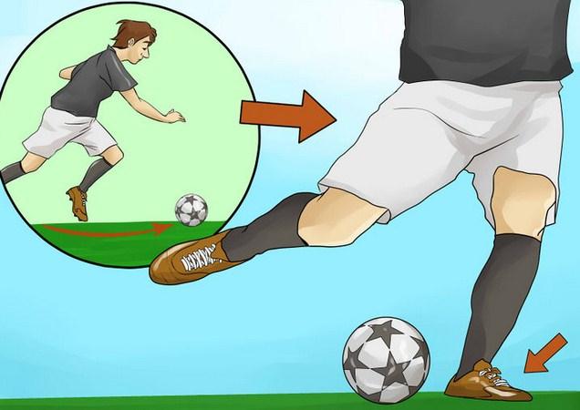 Teknik Cara Menendang Bola Dengan Kaki bagian dalam pada Permainan Sepakbola (image wikihow)