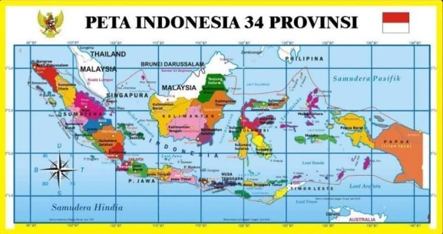 Peta 34 Provinsi di Indonesia