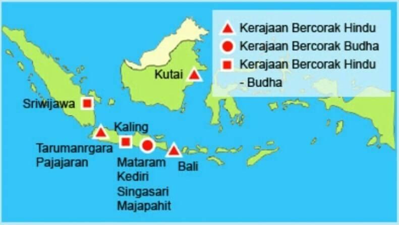 peta kerajaan hindu budha di indonesia